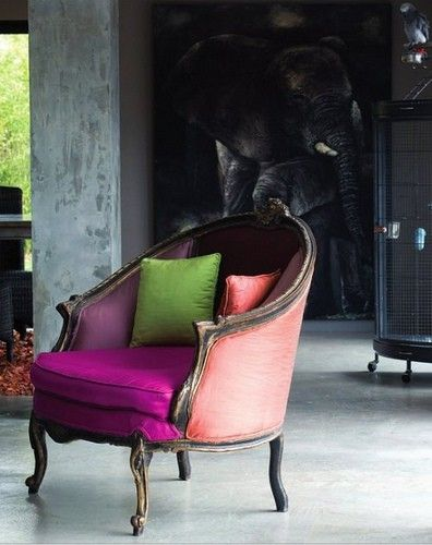 I'm not sure why old chairs make me happy, but they do. Love the colors on this one, especially against the neutral background.