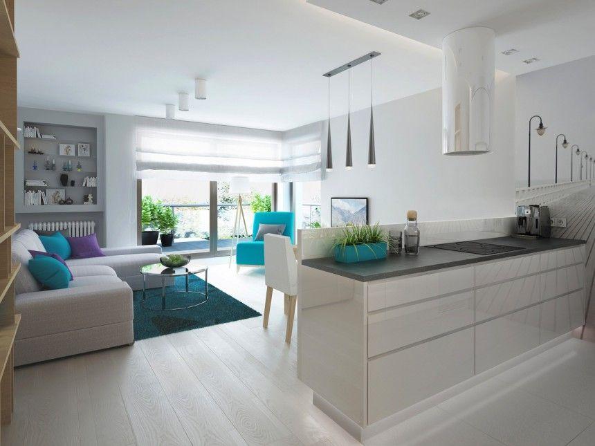 Salon Z Aneksem Kuchennym W Szarosciach Home Style Home Kitchens Kitchen Living Kitchen Design
