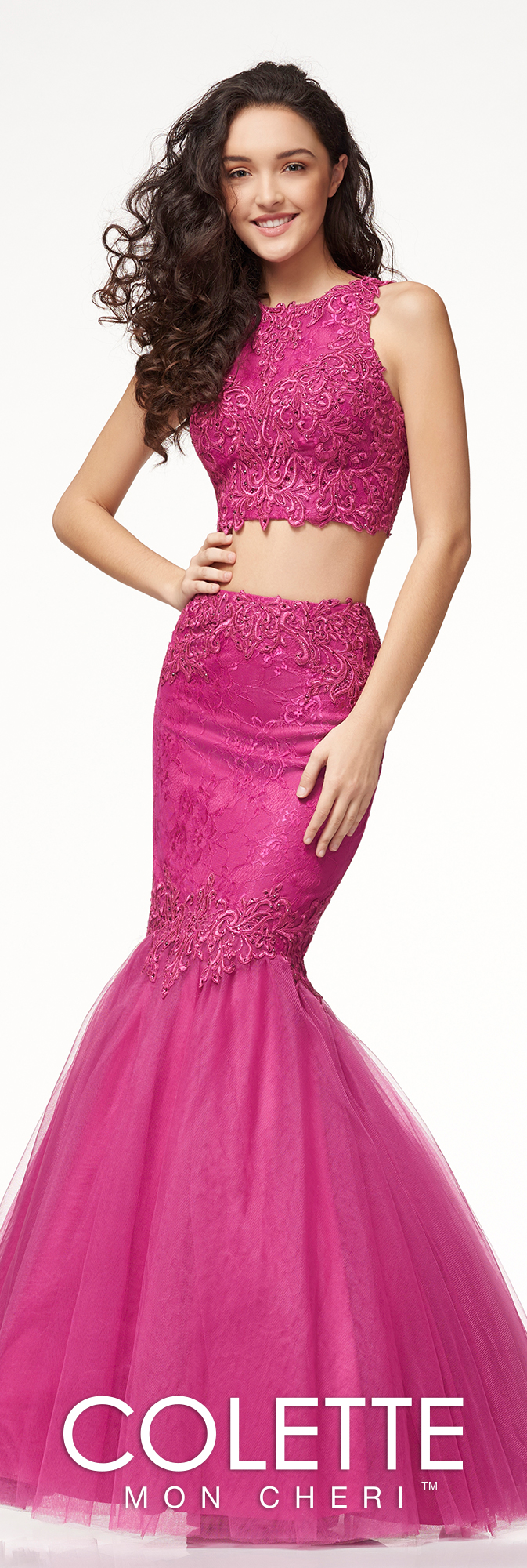 Two piece lace mermaid prom dress colette for mon cheri cl