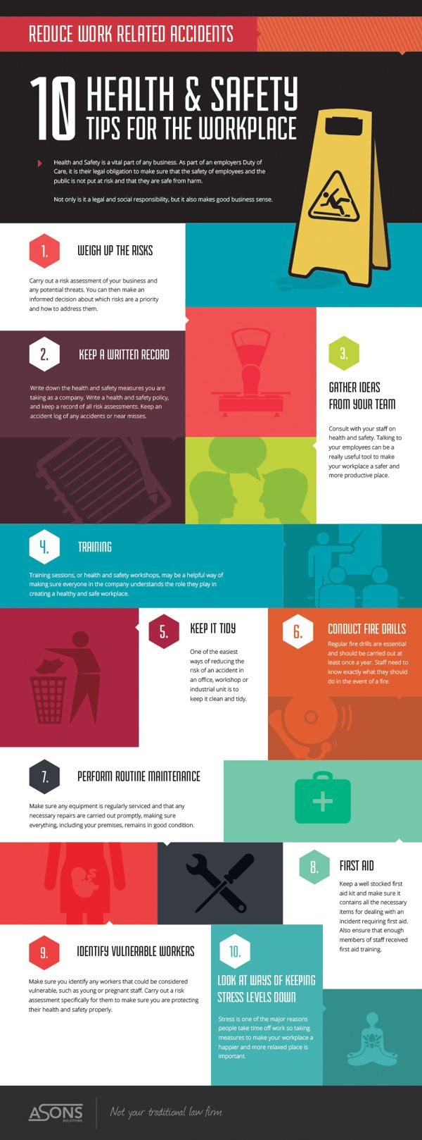 Great tips for safety and health in the workplace.