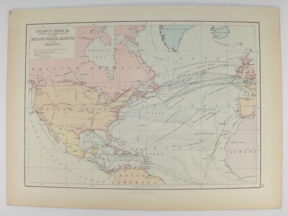 Atlantic Ocean Map Ocean Currents Antique Map United States - Atlantic ocean us map