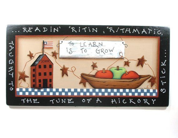 Sign School Teachers Delight Hand Painted Wood by CarolynPaints4U, $48.00