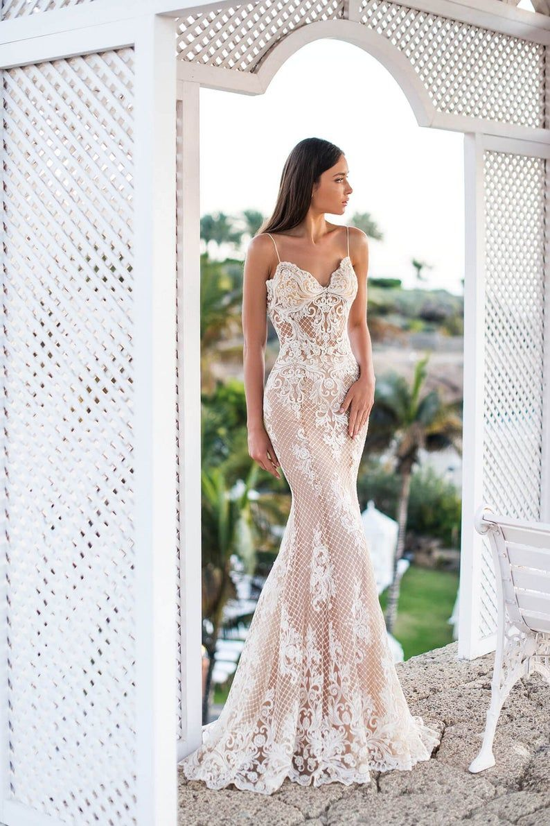 ivory wedding dress, Beige wedding dress, open back dress, beach wedding dress, classic wedding, boho wedding dress, sexy designer dress 051