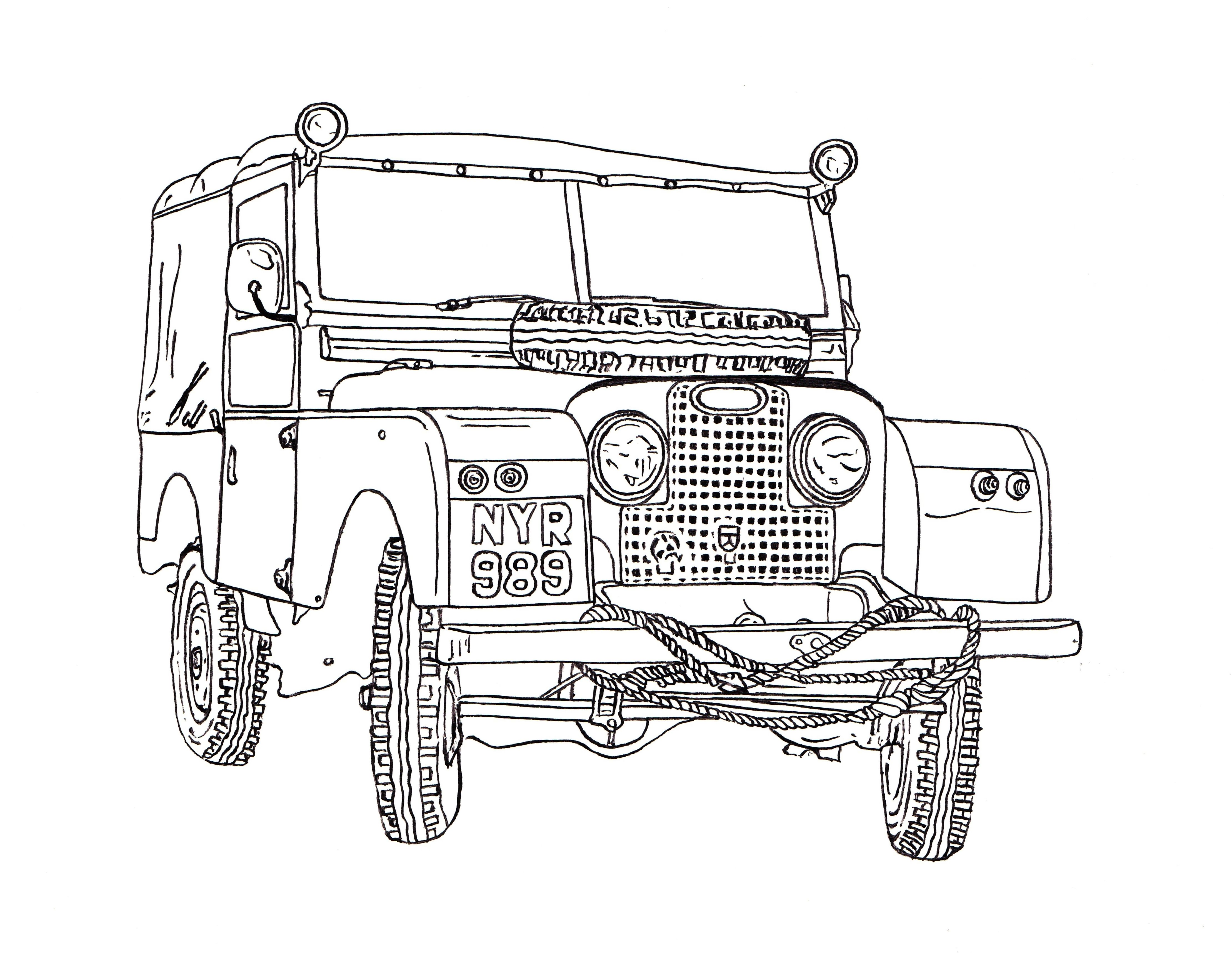 Land rover series ii ink drawing