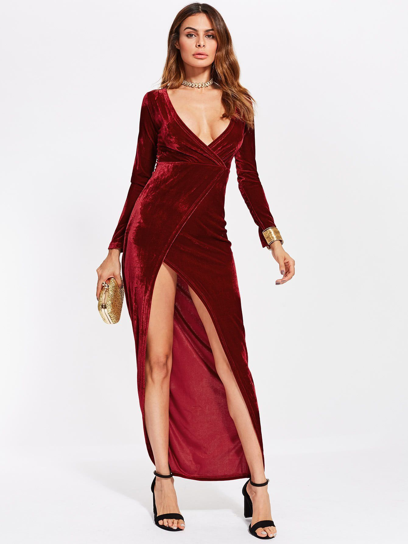 0aa6f169cc Material: Velvet Color: Burgundy Pattern Type: Plain Neckline: Deep V Neck  Style: Sexy, Elegant, Party Type: Wrap Silhouette: Sheath Sleeve Length:  Long ...