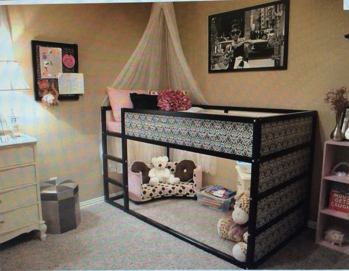 Lit Mezzanine Ikea Custumise Rangement Chambre Fille Deco