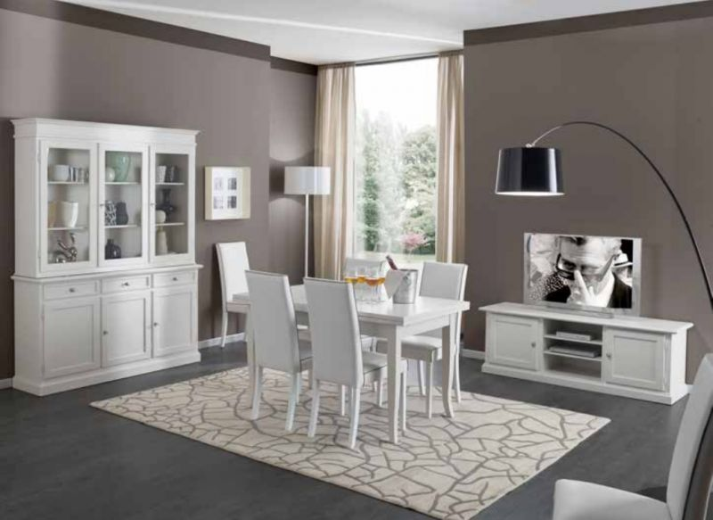 Credenza Con Cristalliera : Offerta tavolo allungabile sedie ecolpelle credenza con