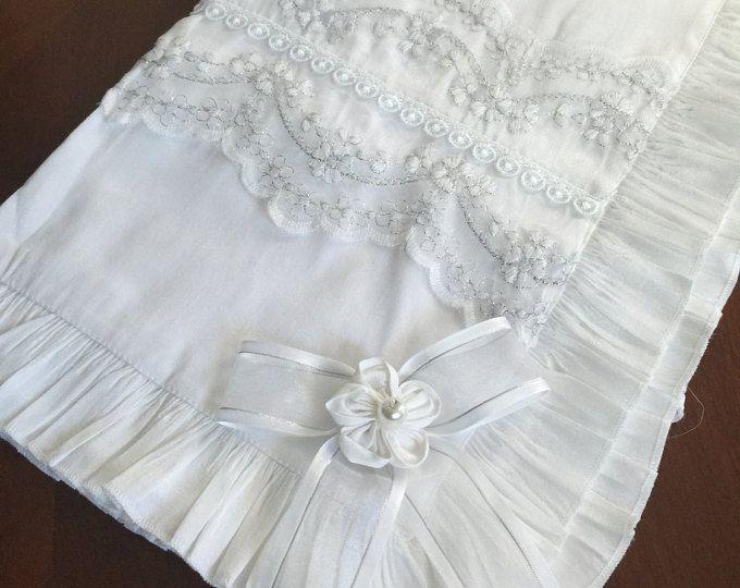 Baptism silk blanket, Christening blanket, white blanket, 100% sill ...