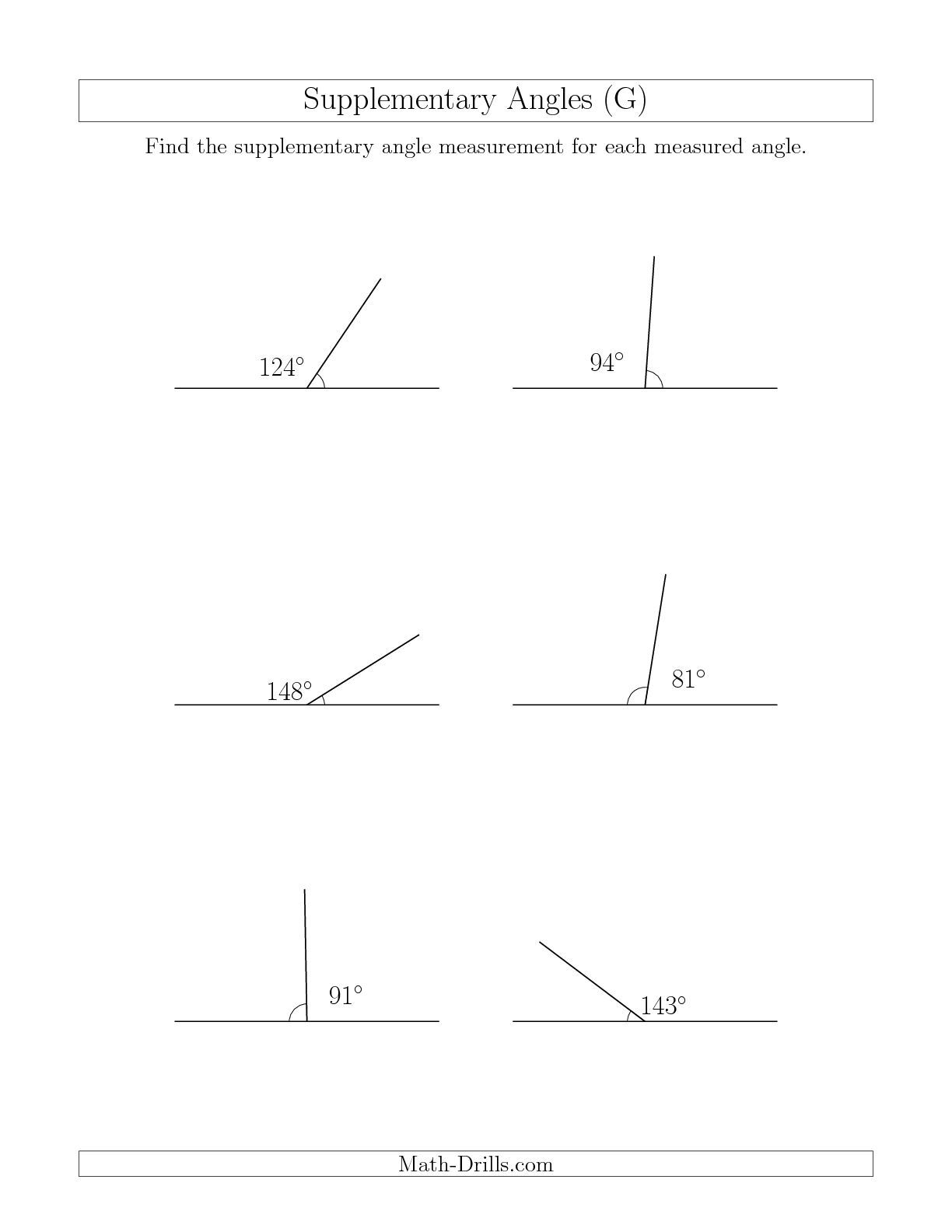 The Supplementary Angle Relationships G Geometry Worksheet