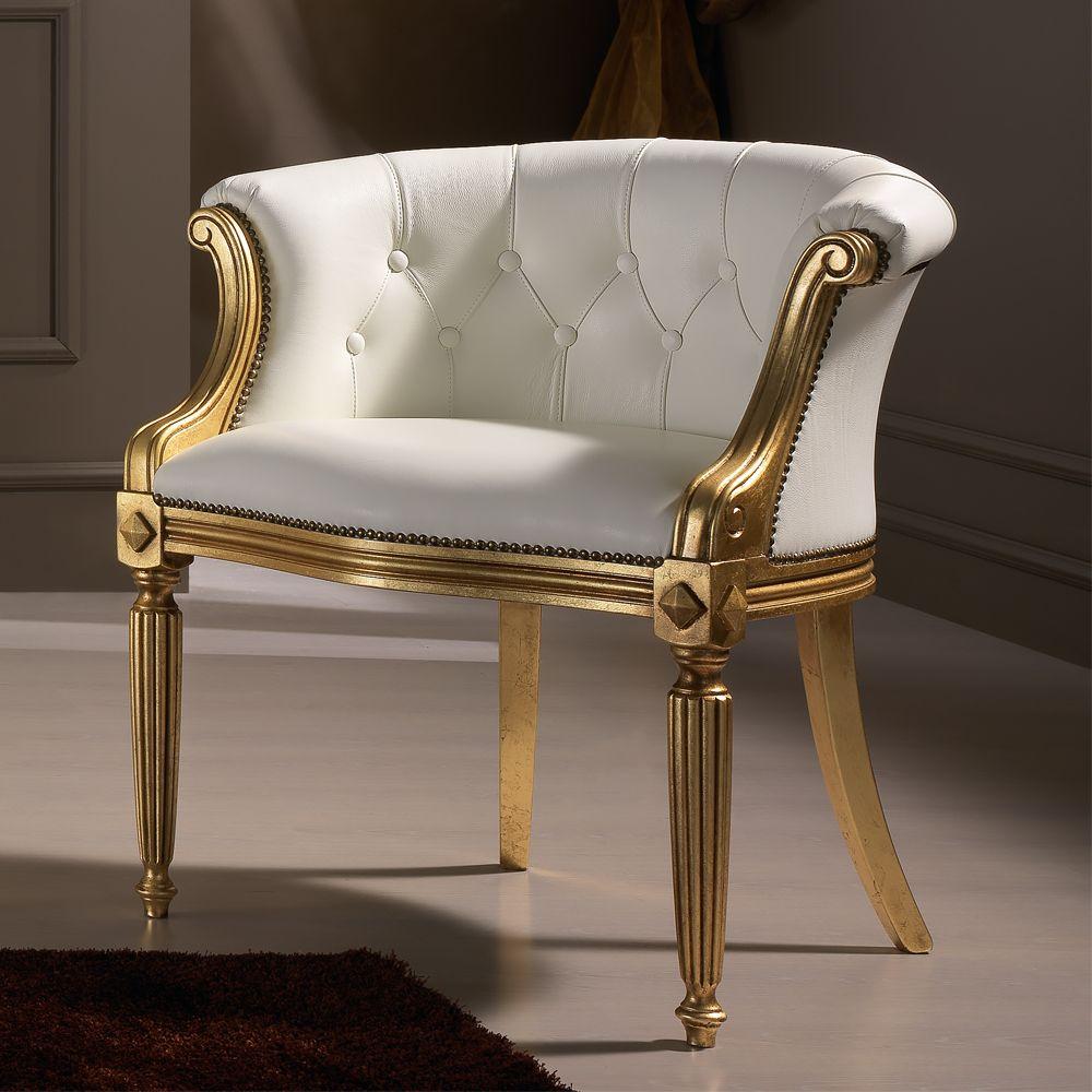Italian Sofa Jakarta: Italian White Leather Louis XV Style Armchair