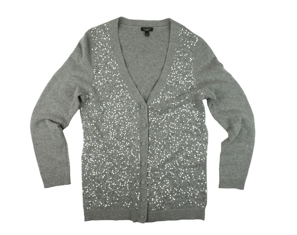 TALBOTS Size M Gray Sequin Front Cardigan Sweater #Talbots ...