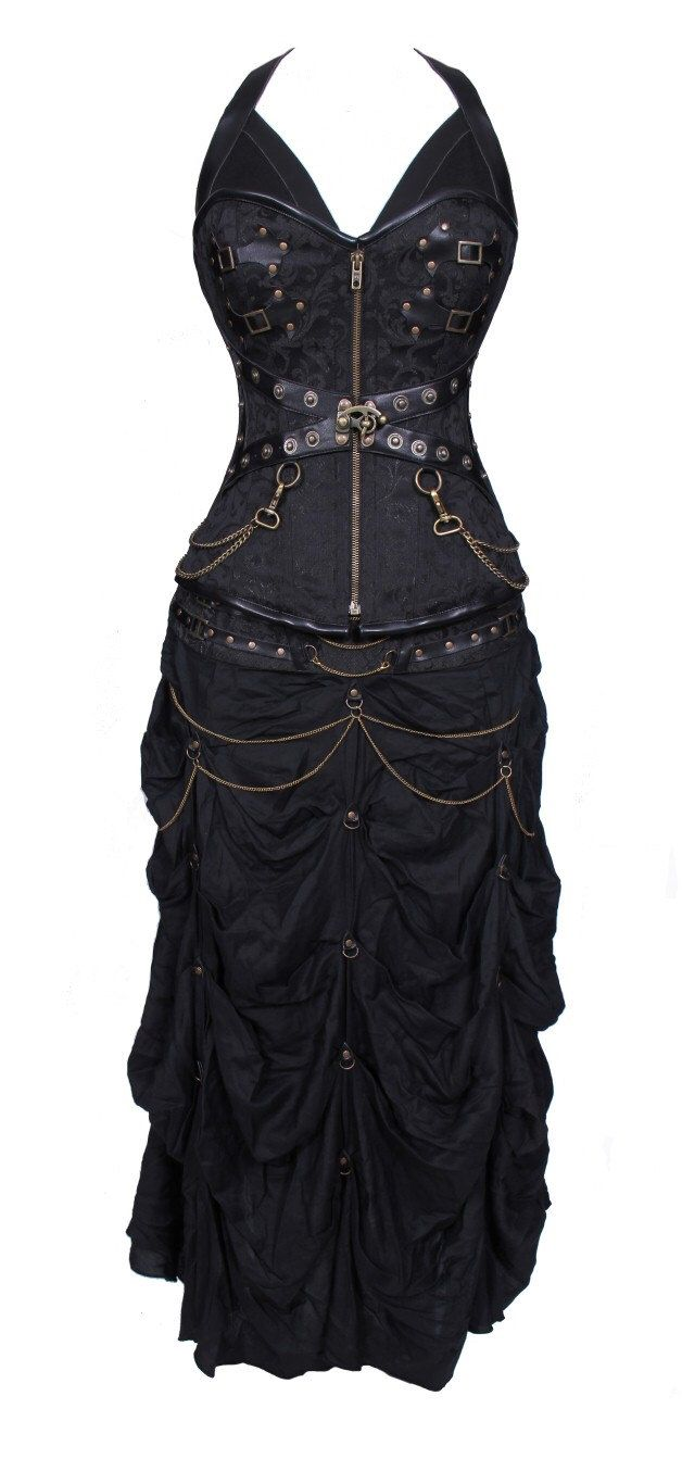 100 poly brocade gothic overbust corset dress by for Wedding dress steaming near me