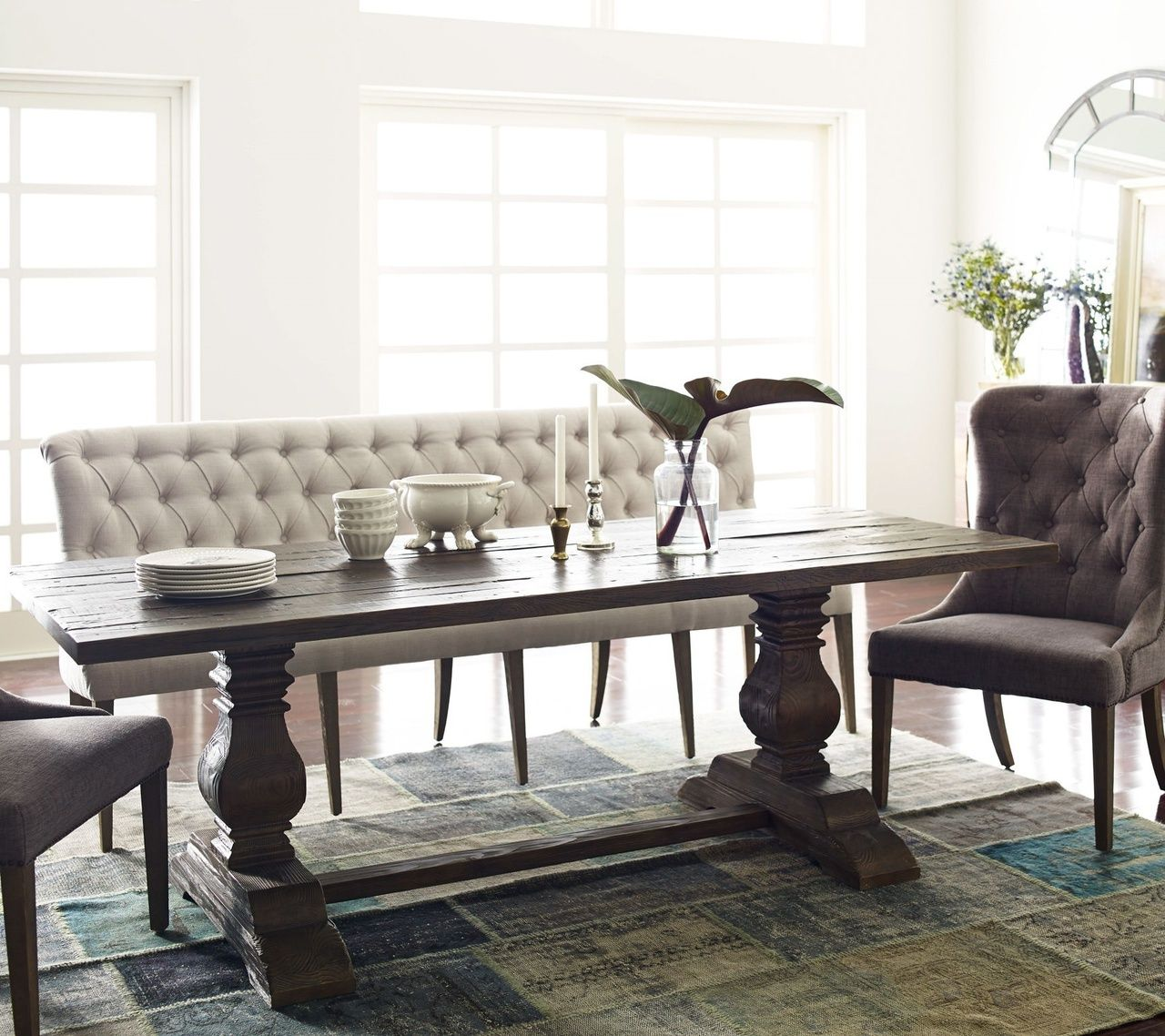 dining set with bench and chairs chair covers linens lebanon church road french tufted upholstered banquette bedroom