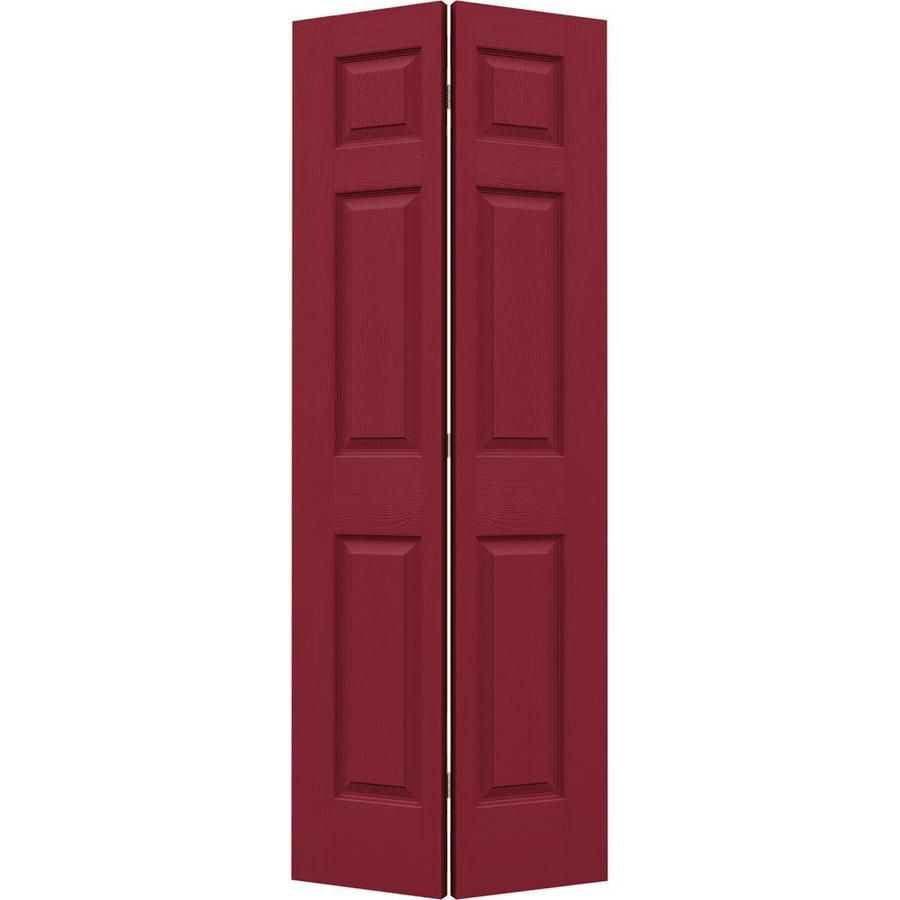 Jeld Wen Colonist Barn Red 6 Panel Molded Composite Bifold Door Hardware Included Common 36 In X 80 In Actual 36 In In 2020 Bifold Door Hardware Panel Moulding Interior Barn Doors