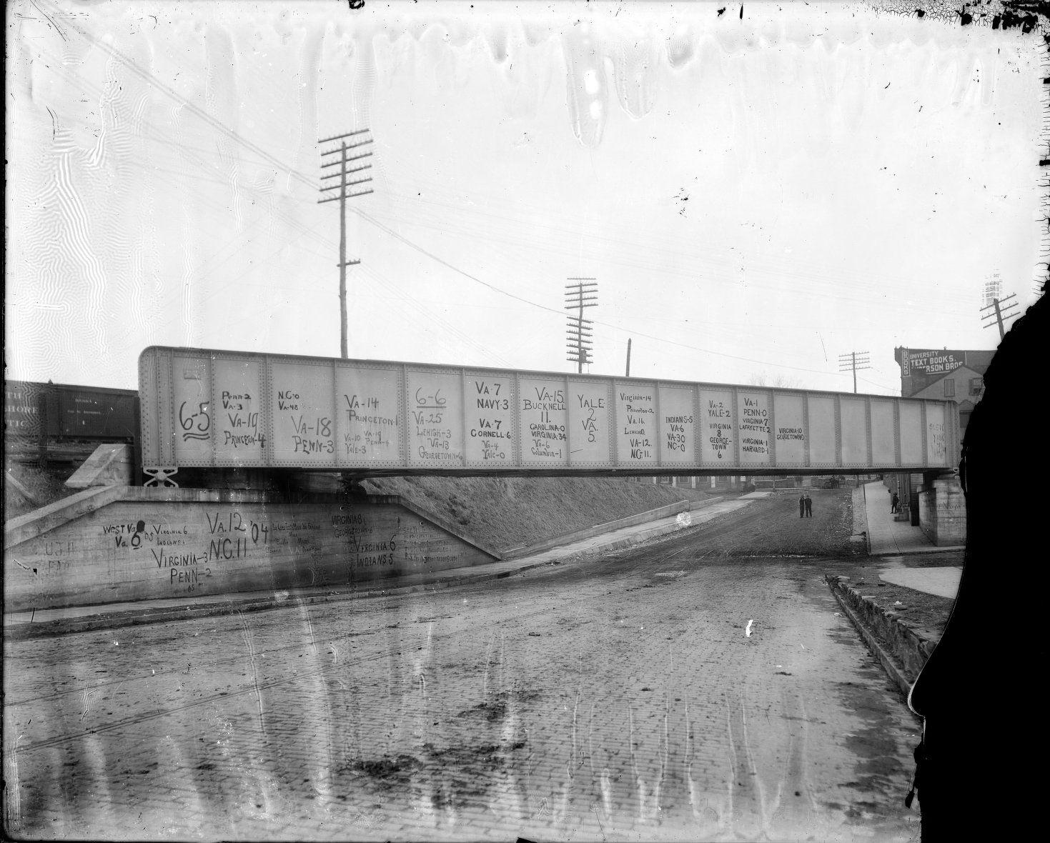 Football Scores on Chesapeake and Ohio Railway Bridge over