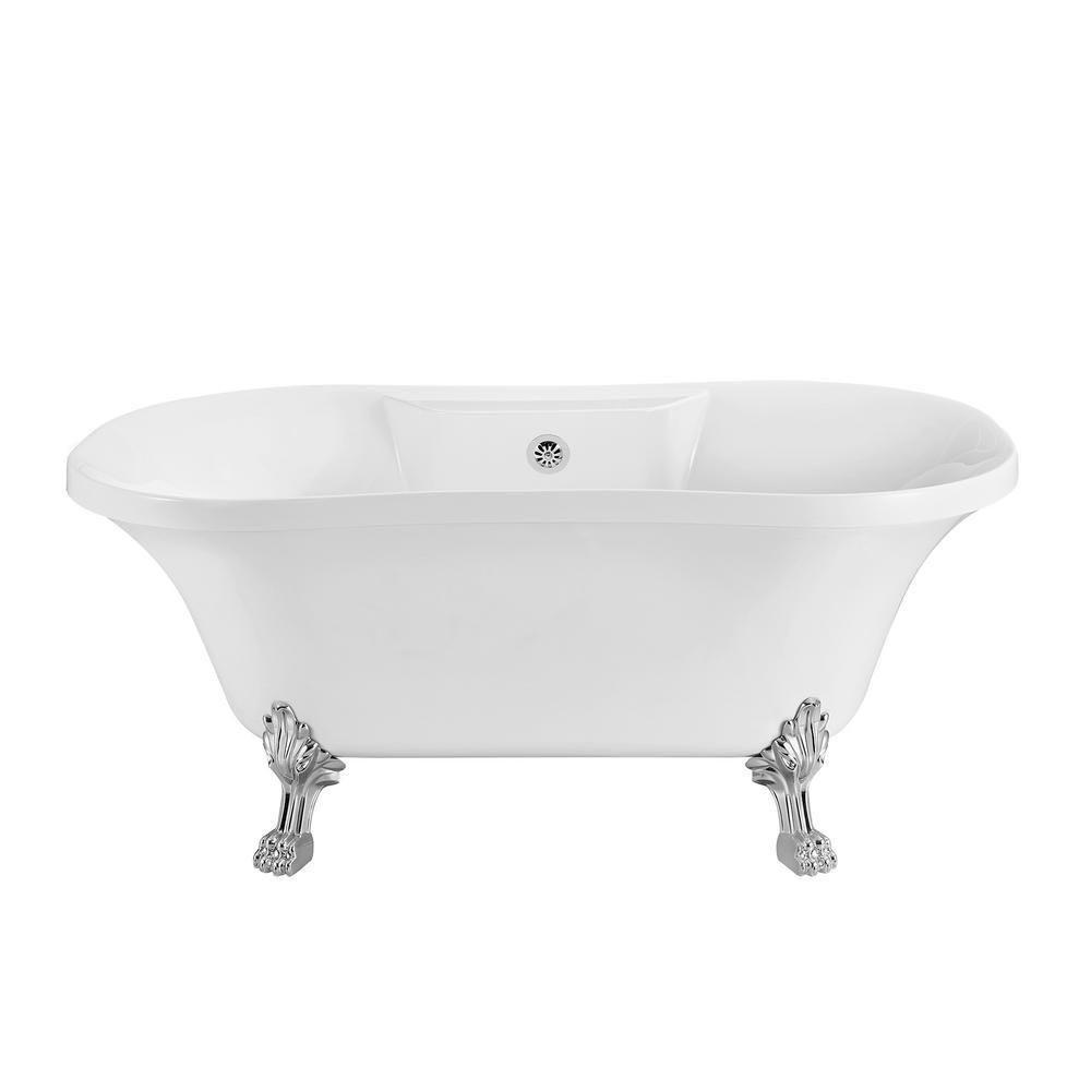 Streamline 68 In Acrylic Clawfoot Non Whirlpool Bathtub In Glossy
