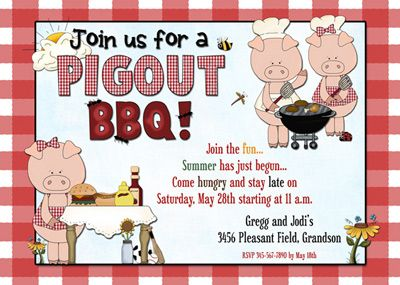 fall barbeque ideas funny pig cookout bbq party invitation