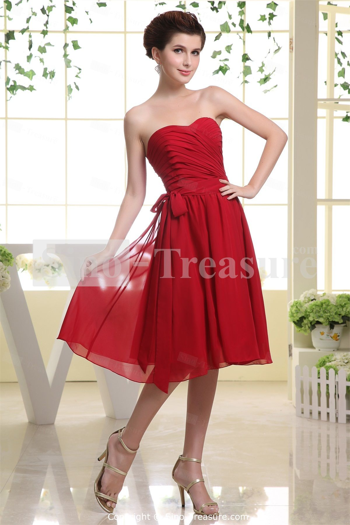 Red chiffon sweetheart petite knee length bridesmaid dress with red chiffon sweetheart petite knee length bridesmaid dress with detachable belt wedding events ombrellifo Gallery