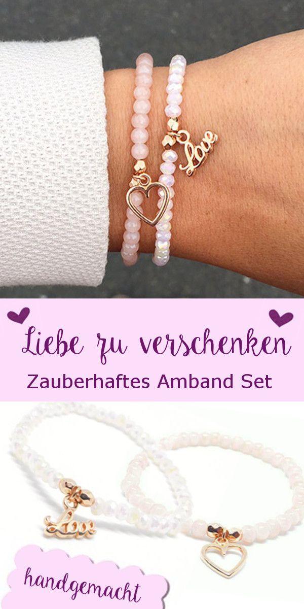 Dieses Bezaubernde Perlenarmband Set Love Rosegold Ist Ein