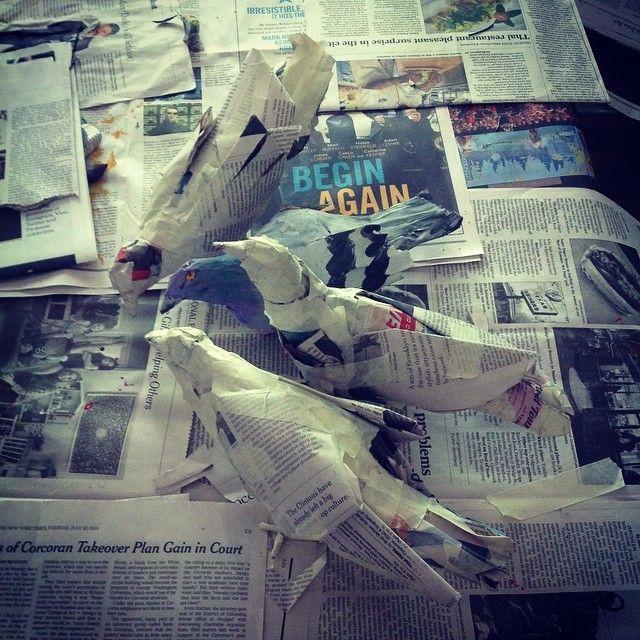 papier mache pigeon forms (@nancyleecarter)