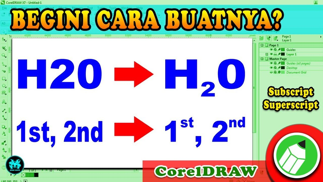 Membuat Subscript dan Superscript di CorelDRAW X7 di 2020