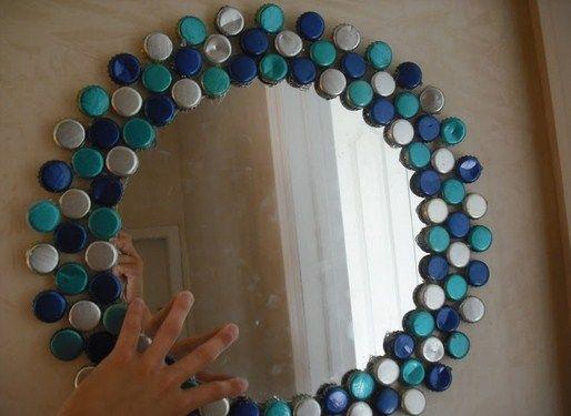 Kreasi Membuat Bingkai Kaca Cermin Dengan Menggunakan Tutup Botol
