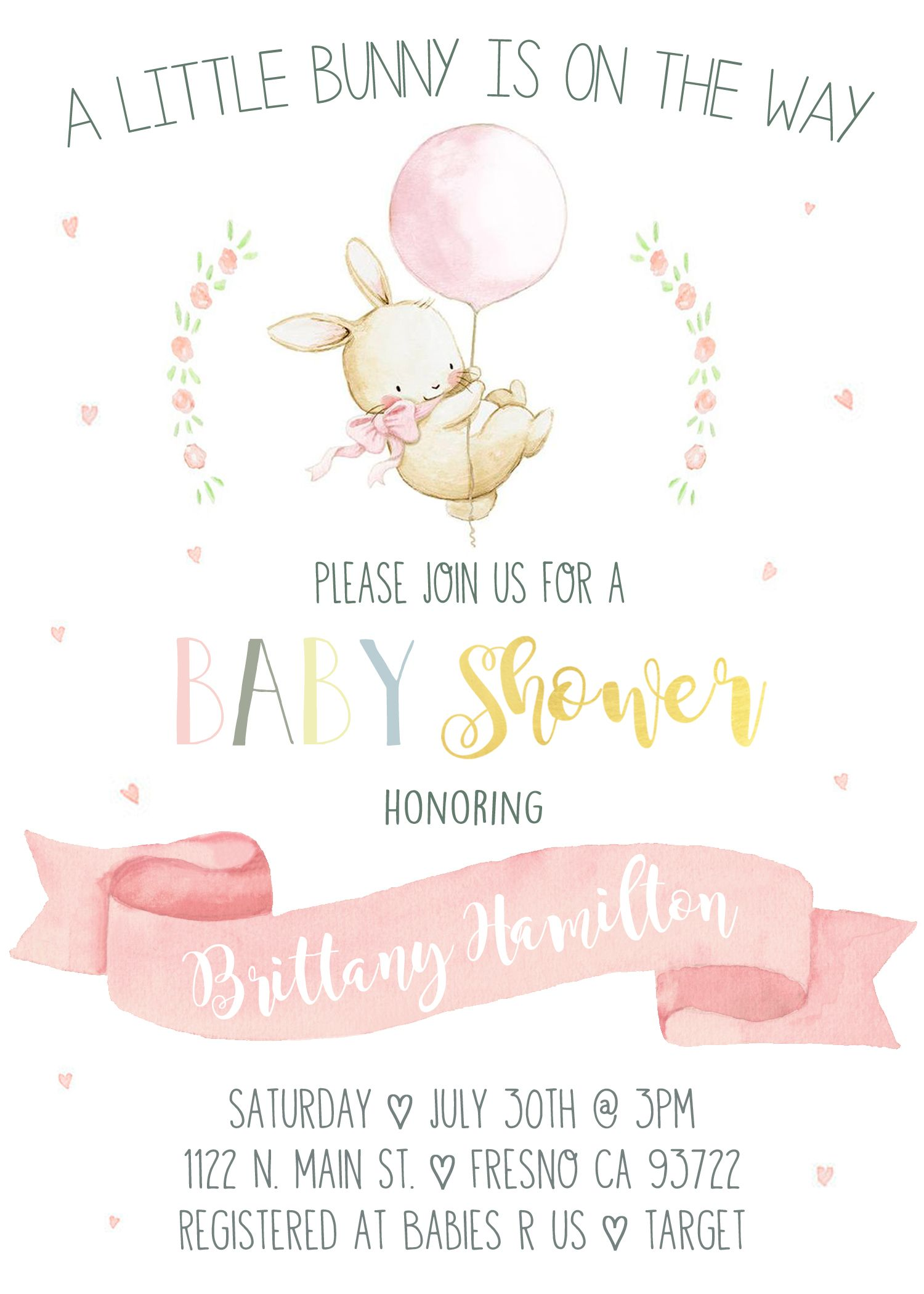 Bunny Baby Shower Invitation Invite. About to Pop Rabbit Vintage ...