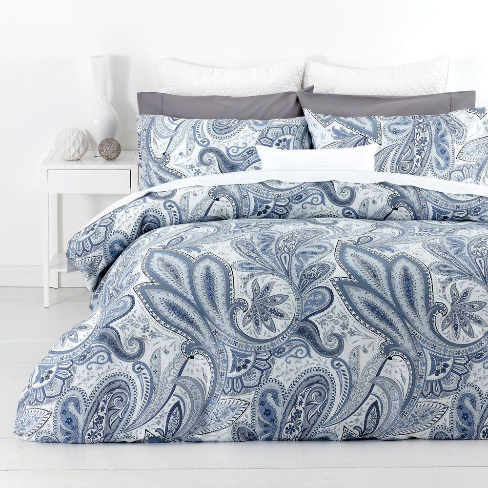 New In 2 Linen Paisley Blue Queen Size Quilt / Doona Cover Set ... : cotton quilts queen size - Adamdwight.com
