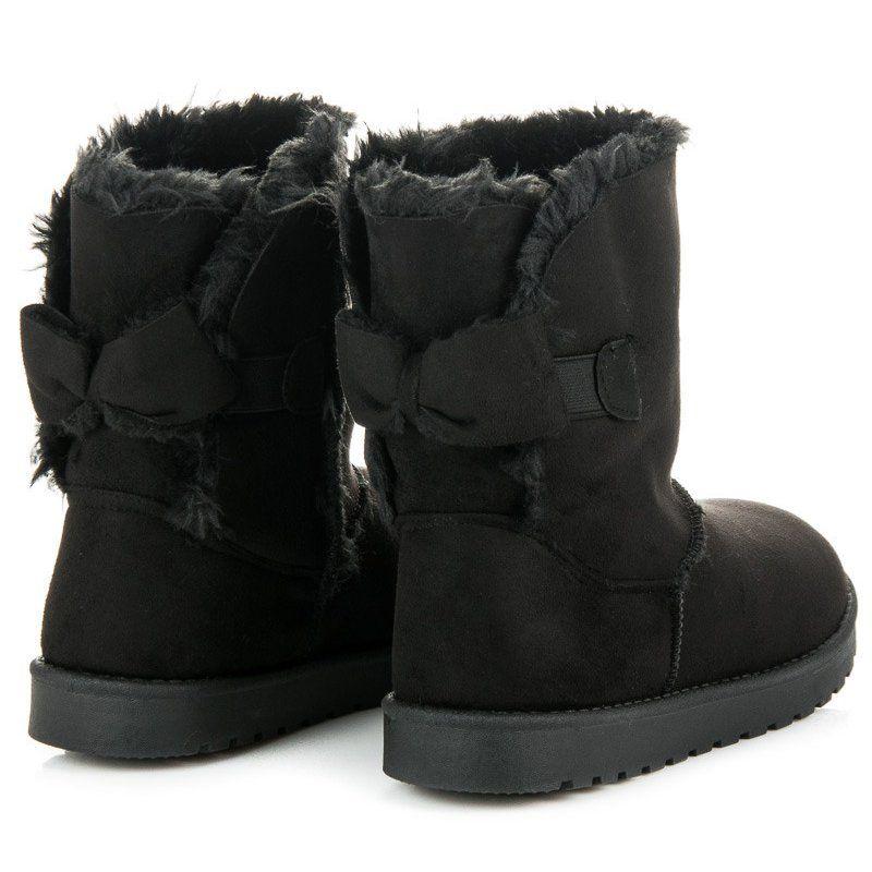 Zamszowe Mukluki Z Kokarda Czarne Boots Ugg Boots Shoes