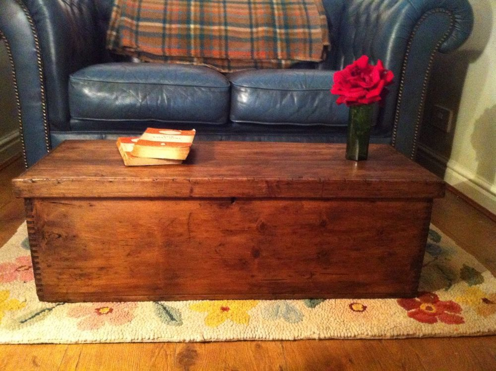 Old Wooden Box Small Chest Coffee Table Storage Toy Or Tool Trunk In Home Furniture Diy Trunks Chests Ebay
