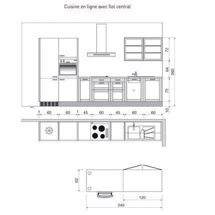 Charmant Plan De Cuisine En I Avec îlot Central   Marie Claire Maison Bonnes Idees