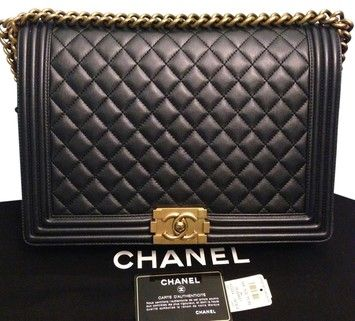 a48052e90ea1 Chanel Large Le Boy Black With Gold Hardware Shoulder Bag. Get one of the  hottest styles of the season! The Chanel Large Le Boy Black With Gold  Hardware ...