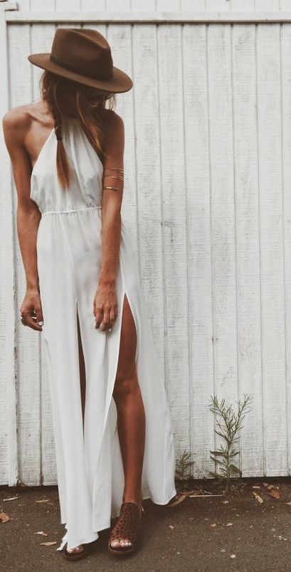 Boho Look   Maxi dress branco, chapéu estilo boho, acessórios hippie chic, white maxi