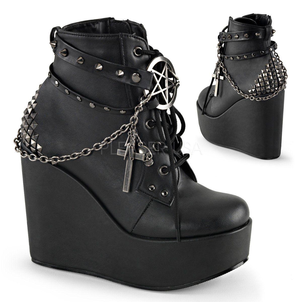 Demonia POISON 101 Nero Vegan Pelle Donna Ankle Stivali in