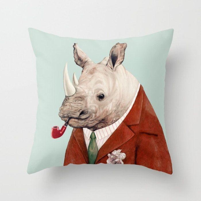 Rhino Throw Pillow Animal Pillow Rhinoceros Pillow by AnimalCrew