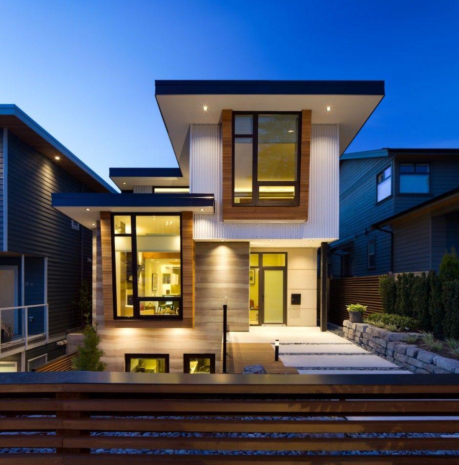 Fachada de casa moderna de dos pisos ecológica, con decoración de ...