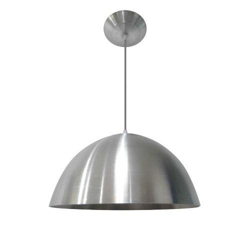 Lustre Luminária Pendente Meia Esfera Grande Escovado - R$ 89,50