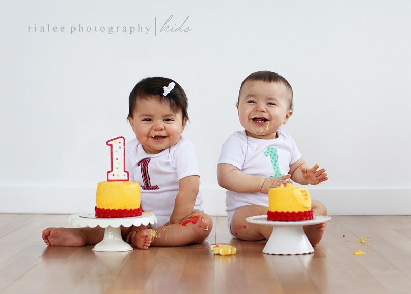 First Birthday Cake Session 1 Year Old Twins Cake Smash With