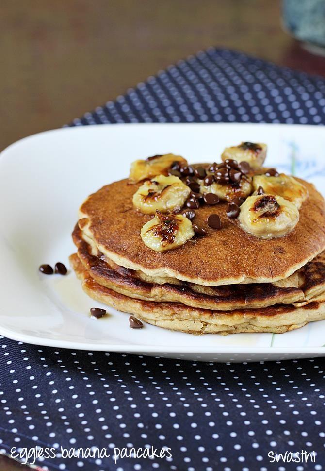 Eggless Banana Pancakes How To Make Eggless Banana Pancake Recipe Banana Pancakes Recipe Eggless Recipes Banana Oatmeal Pancakes