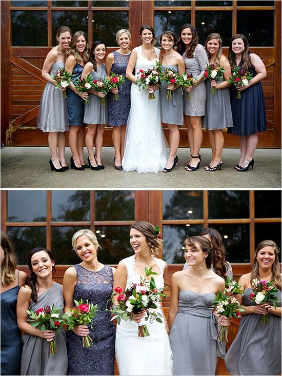129064715f3 Gray mismatched bridesmaids dress! Maybe add a navy blue in there too to  expand your color scheme.