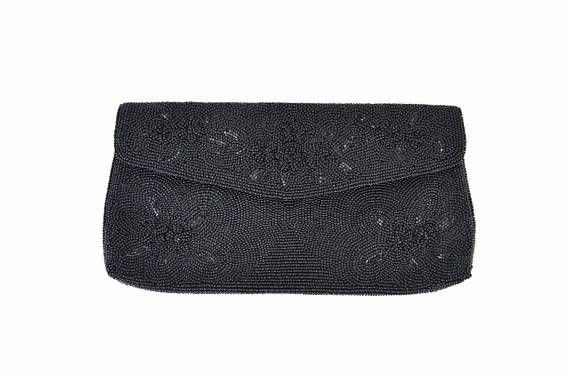 beaded evening clutch bag Vintage black