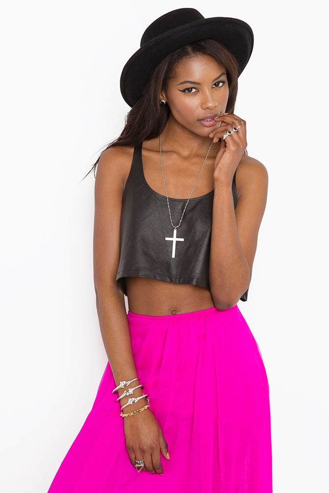 Roxanne Crop Tank - Leather