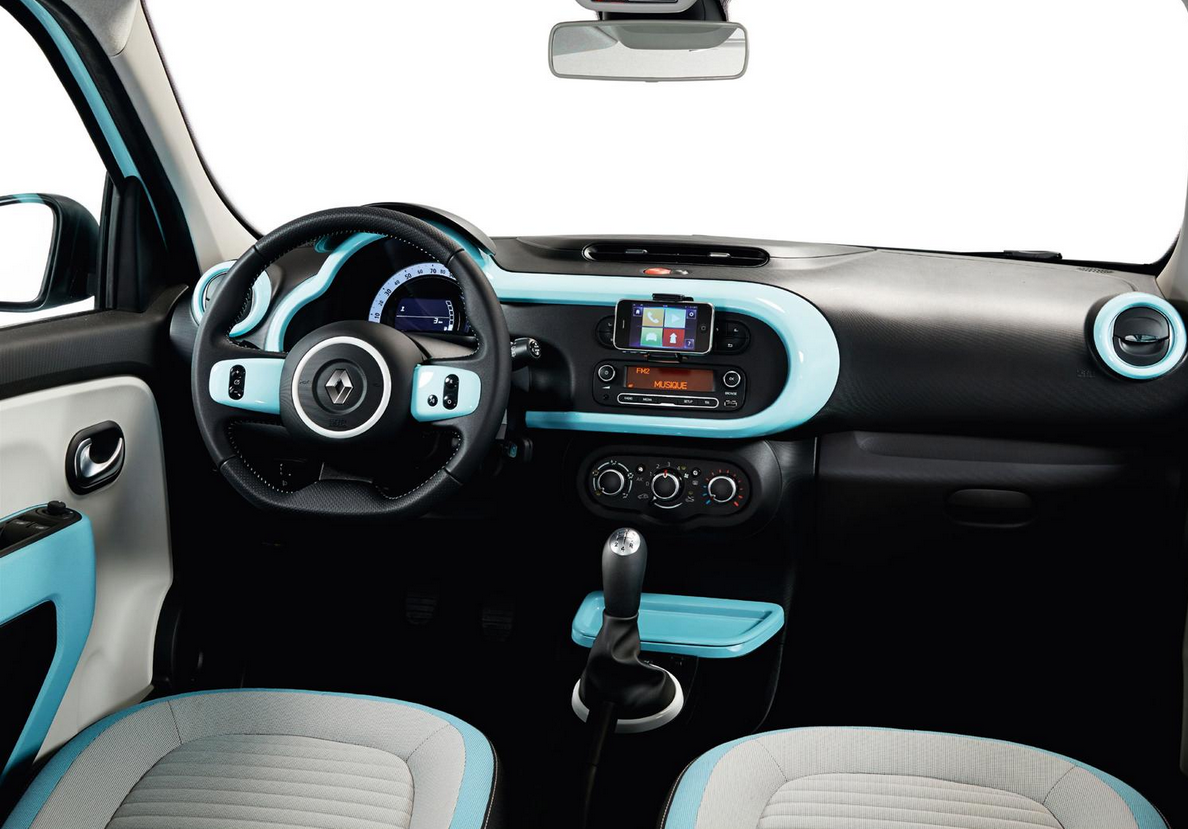 The interior of the new #Renault #Twingo in Light Blue | Renault ...
