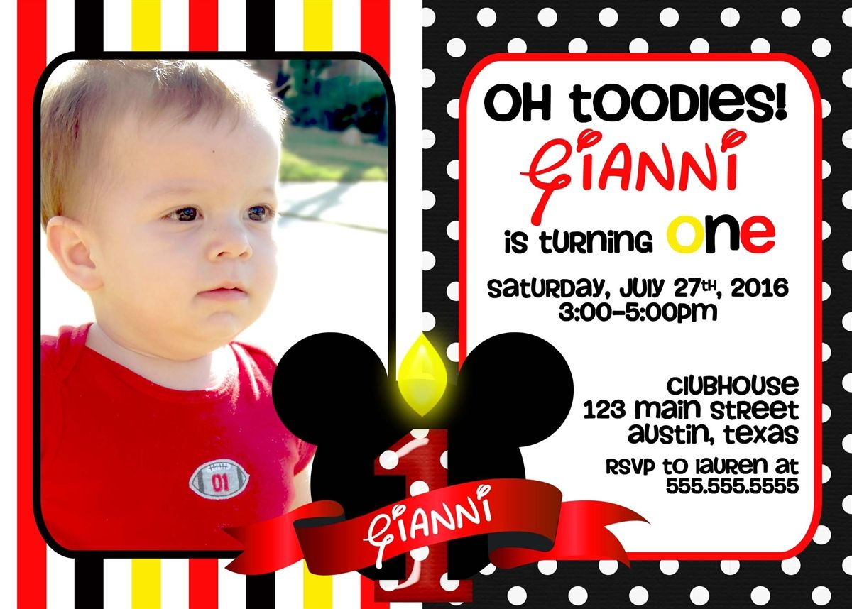 Get Mickey Mouse St Birthday Invitations Ideas FREE Printable - Mickey mouse 1st birthday invitations template