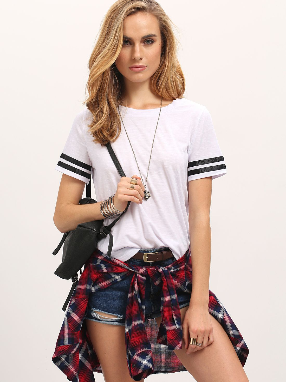 White+Crew+Neck+Black+striped+Sleeve+Casual+T-shirt+12.00
