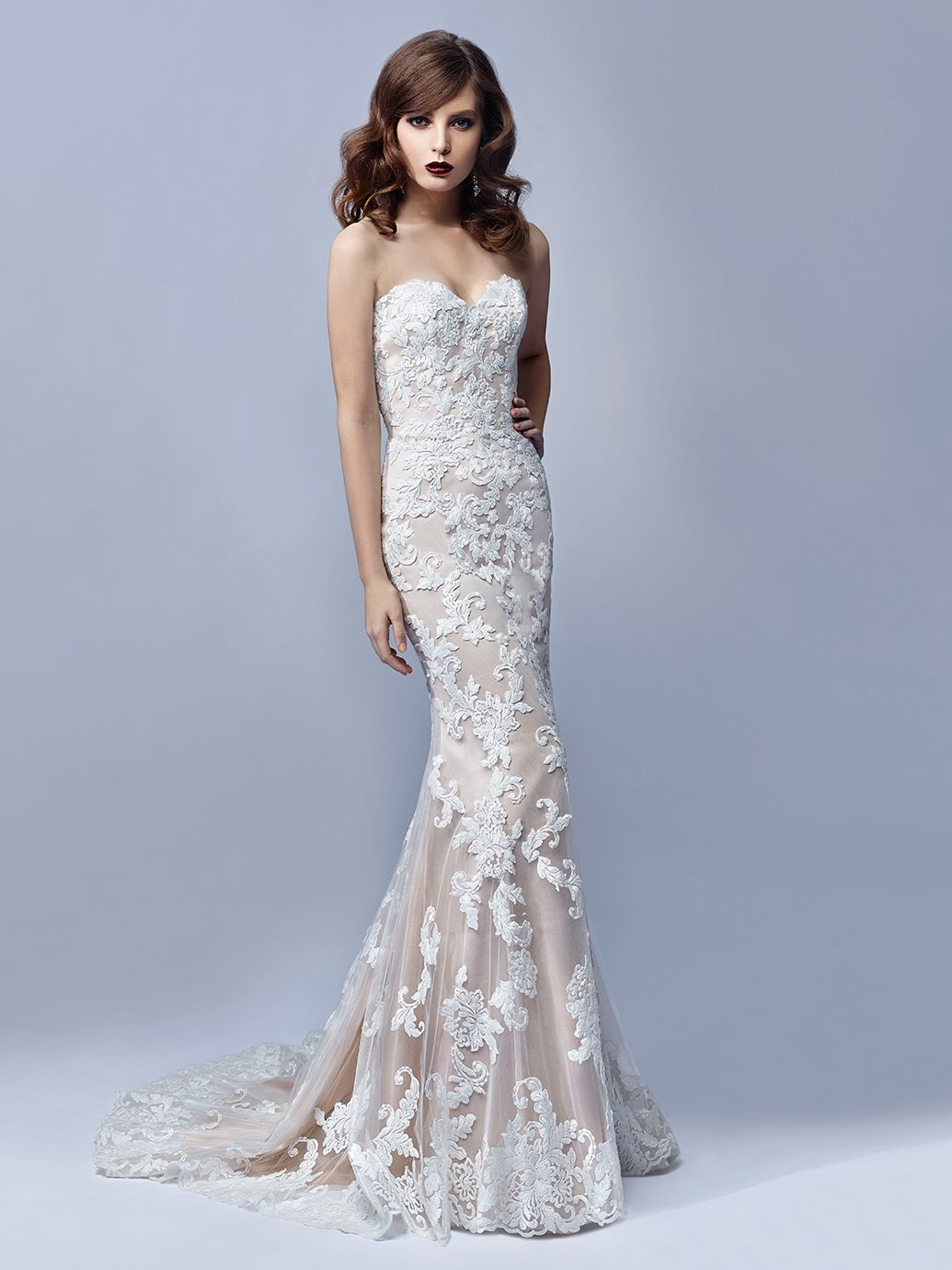 The nude underslip paired with the white lace on this ...