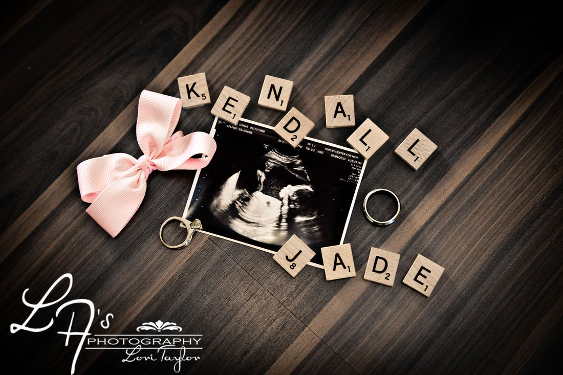 Ultrasound picture with scrabble tiles Maternity – Baby Name Announcement