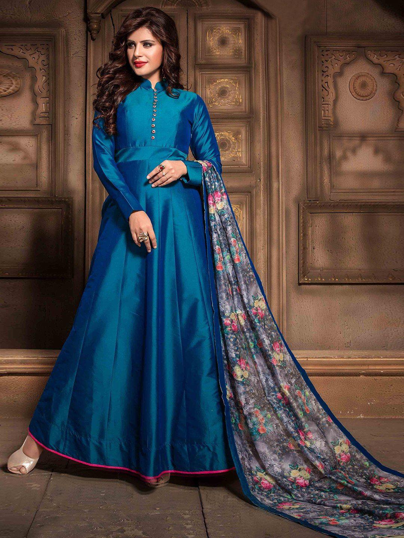 Shop Silk Plain Blue Anarkali Suit Online From G3fashion