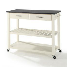 Crosley Furniture 42-in L x 18-in W x 36-in H White Kitchen Island with Casters