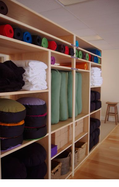 Wall Shelving Storage Look At What S Where Yoga Studio Decor Yoga Studio Design Yoga Studio